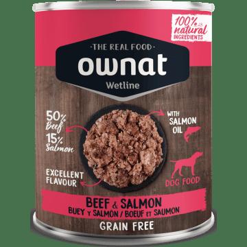 Comida húmeda ownat wetline buey y salmón para perros