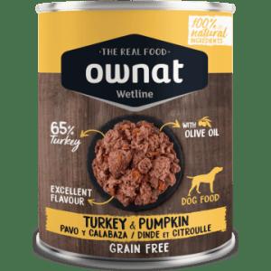 comida húmeda ownat wetline pavo y calabaza para perros