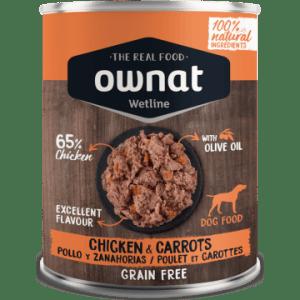 comida húmeda ownat wetline pollo y zanahorias para perros