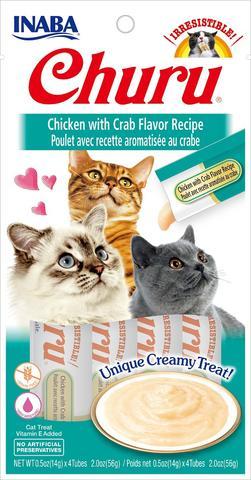 snack churu pollo con cangrejo para gatos