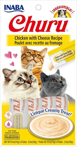 snack churu pollo con queso para gatos